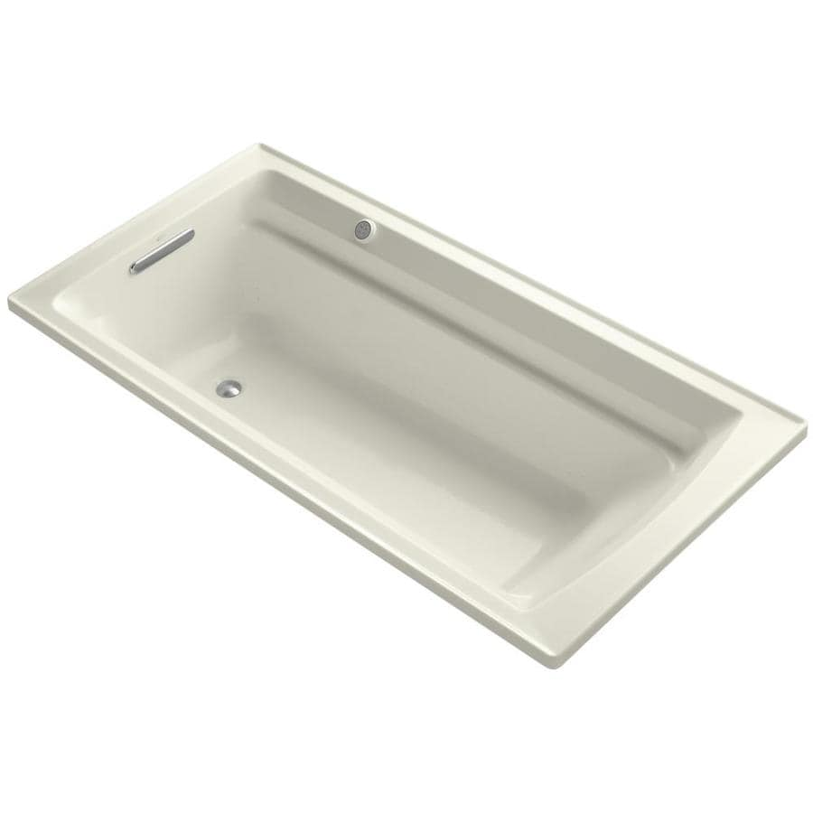 KOHLER Archer 72-in Biscuit Acrylic Alcove Air Bath with Reversible Drain