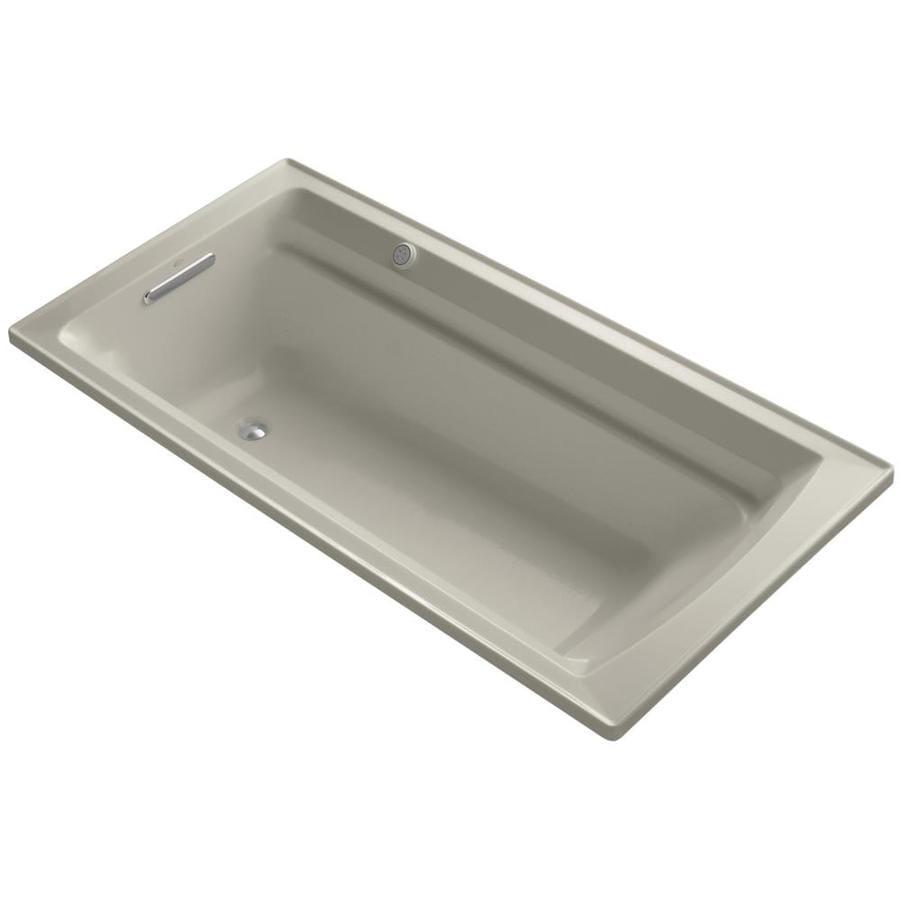 KOHLER Archer 72-in Sandbar Acrylic Alcove Air Bath with Reversible Drain