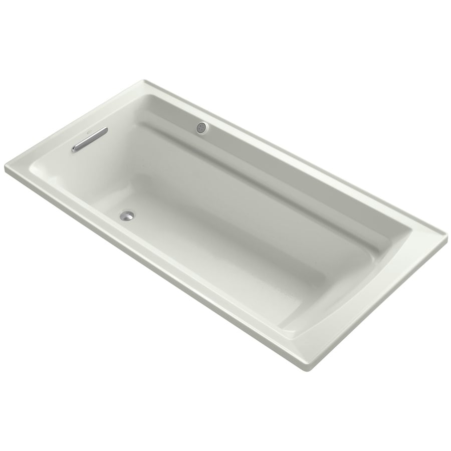 KOHLER Archer 72-in Dune Acrylic Alcove Air Bath with Reversible Drain