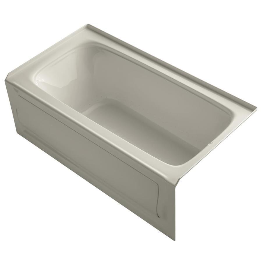KOHLER Bancroft 60-in Sandbar Acrylic Alcove Air Bath with Right-Hand Drain