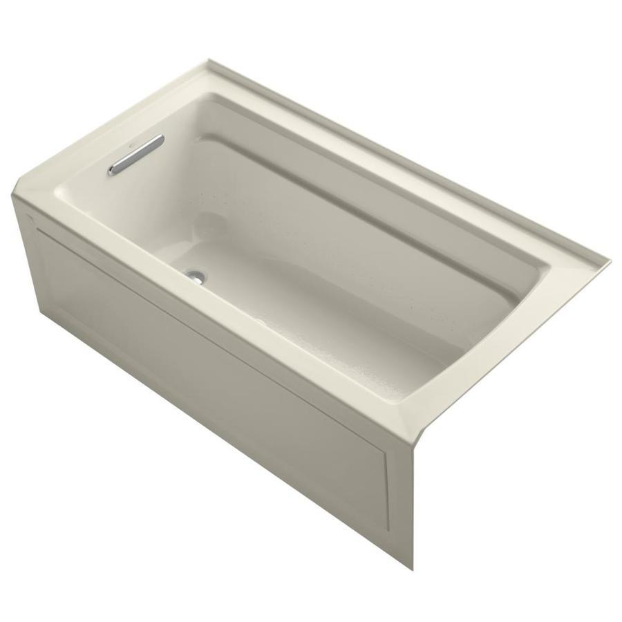 KOHLER Archer 60-in Almond Acrylic Alcove Air Bath with Left-Hand Drain