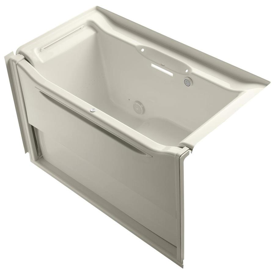 KOHLER Elevance 60.25-in L x 33.5-in W x 39.25-in H Almond Acrylic Rectangular Alcove Air Bath
