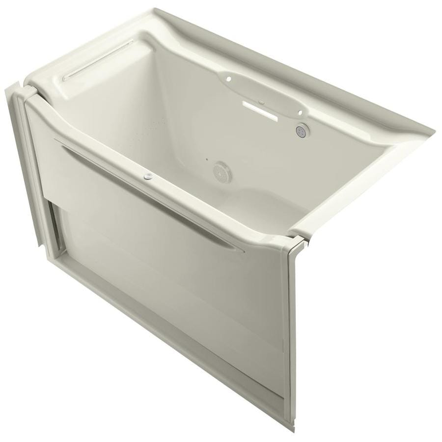 KOHLER Elevance 60.25-in L x 33.5-in W x 39.25-in H Biscuit Acrylic Rectangular Alcove Air Bath