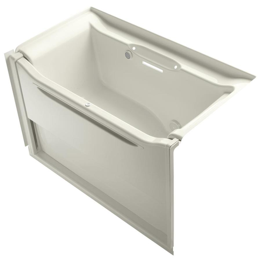 KOHLER Elevance 60.25-in Biscuit Acrylic Alcove Air Bath with Right-Hand Drain