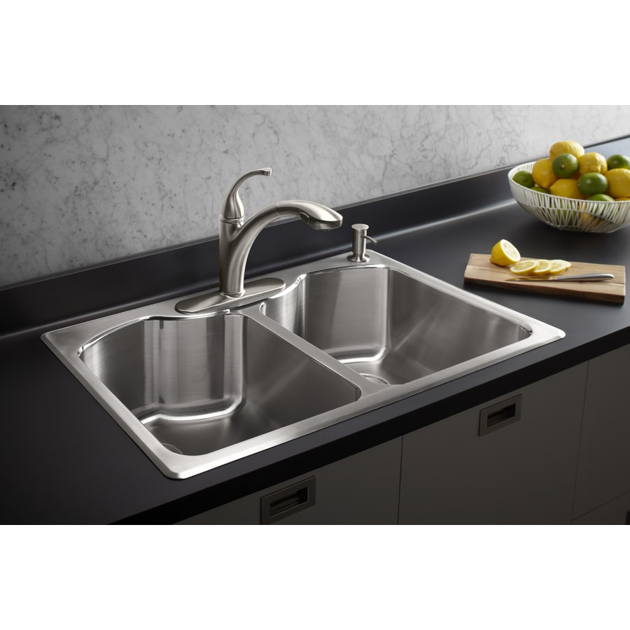 Shop KOHLER Octave 22-in x 33-in Stainless Steel Double-Basin Drop ...