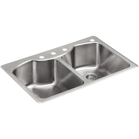 KOHLER Octave 33 In X 22 In Stainless Steel Double Basin Stainless Steel