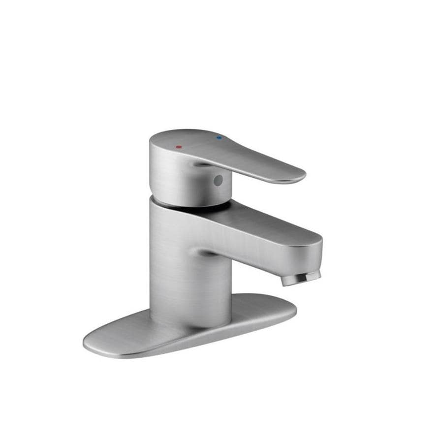 KOHLER July Brushed Chrome 1-Handle 4-in Centerset WaterSense Bathroom Faucet (Drain Included)