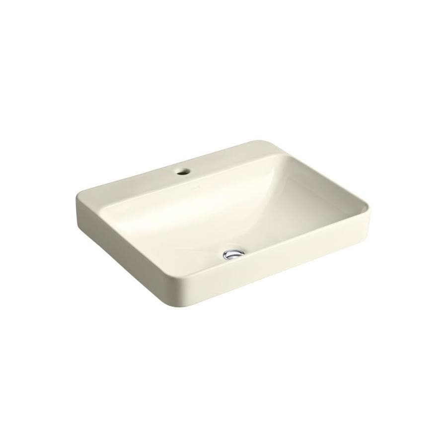 KOHLER Vox Rectangle Almond Vessel Rectangular Bathroom Sink with Overflow