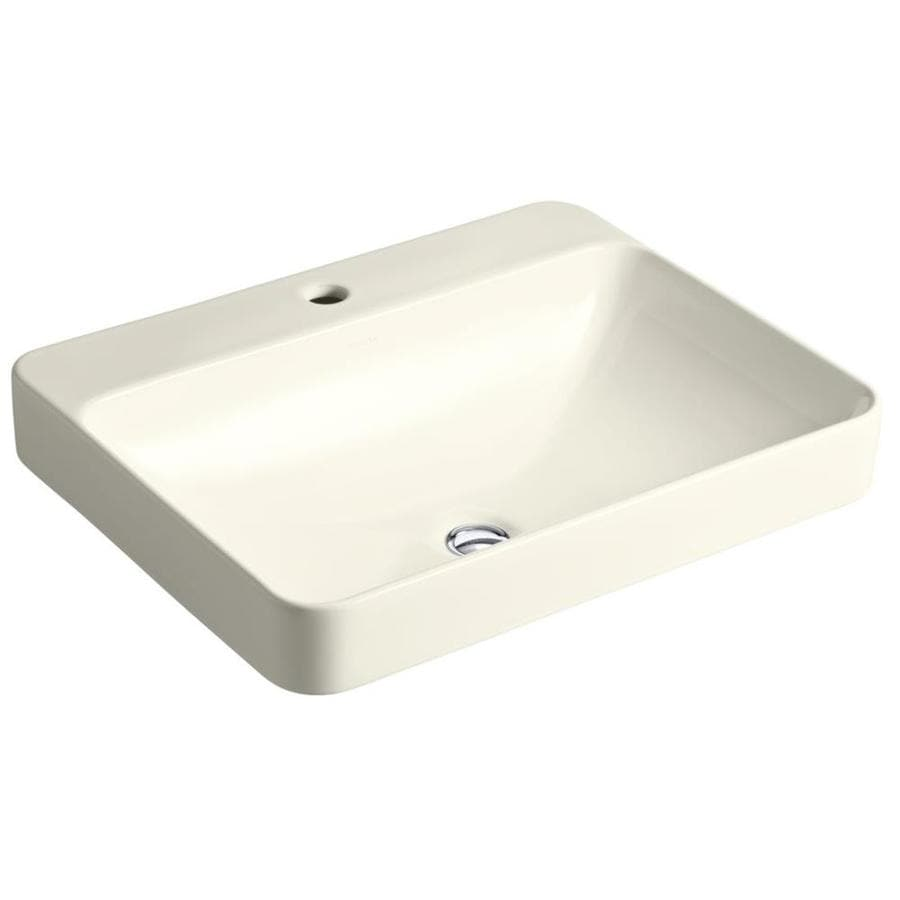 Kohler Vox Rectangle Biscuit Vessel Rectangular Bathroom Sink With Overflow Drain At Lowes Com