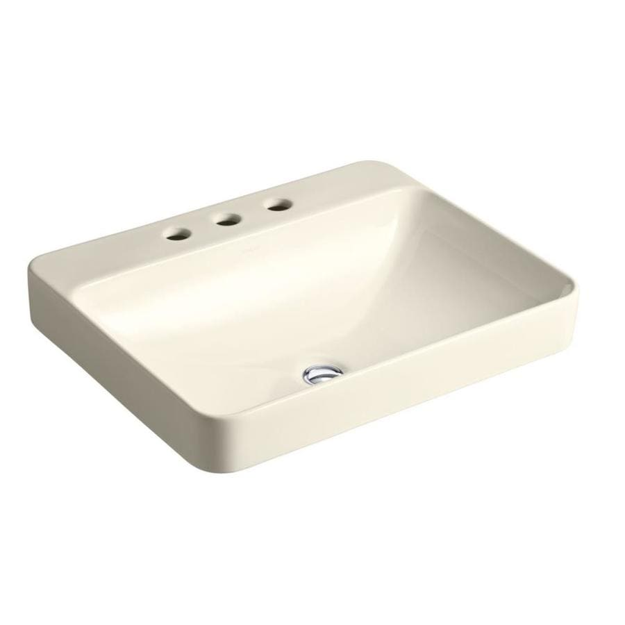 KOHLER Iron Plains Almond Vessel Rectangular Bathroom Sink with Overflow