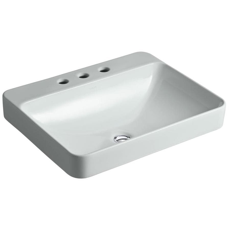 KOHLER Vox Rectangle Ice Grey Vessel Rectangular Bathroom Sink with Overflow