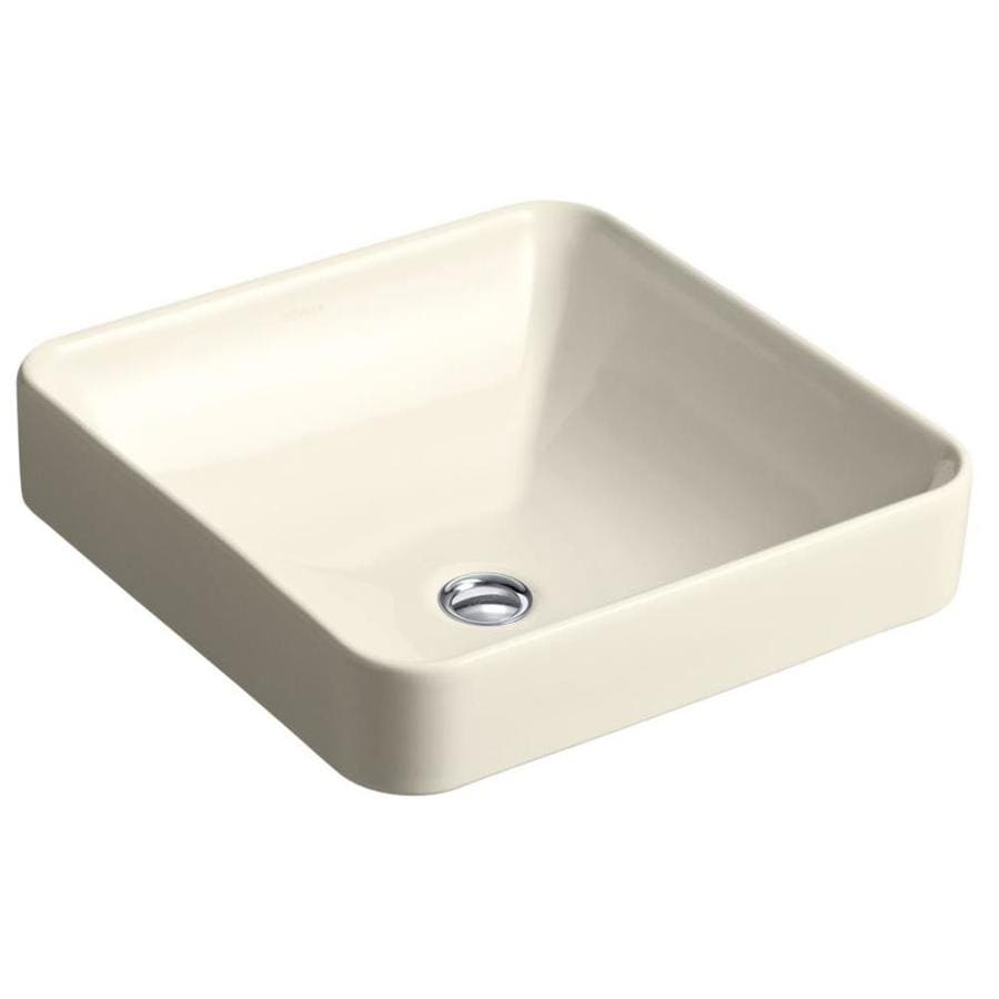 Shop kohler vox almond vessel square bathroom sink with - Decorating with almond bathroom fixtures ...