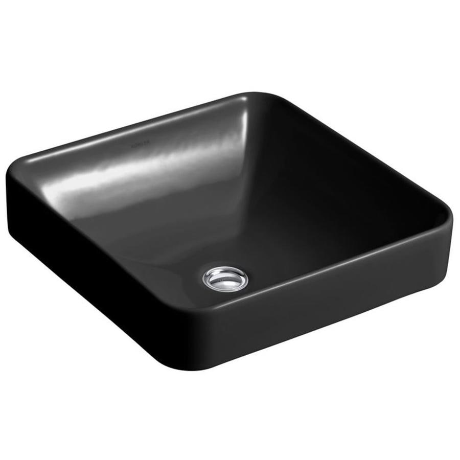 Shop kohler vox black vessel square bathroom sink with for Black vessel bathroom sink