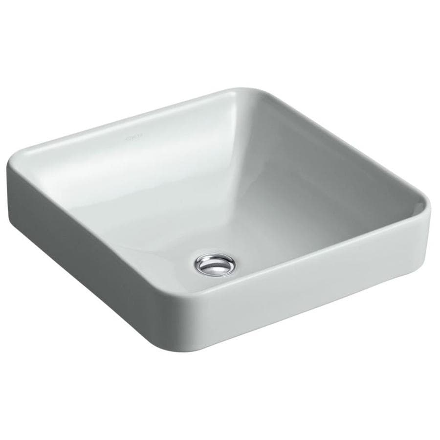 KOHLER Vox Ice Grey Vessel Square Bathroom Sink with Overflow