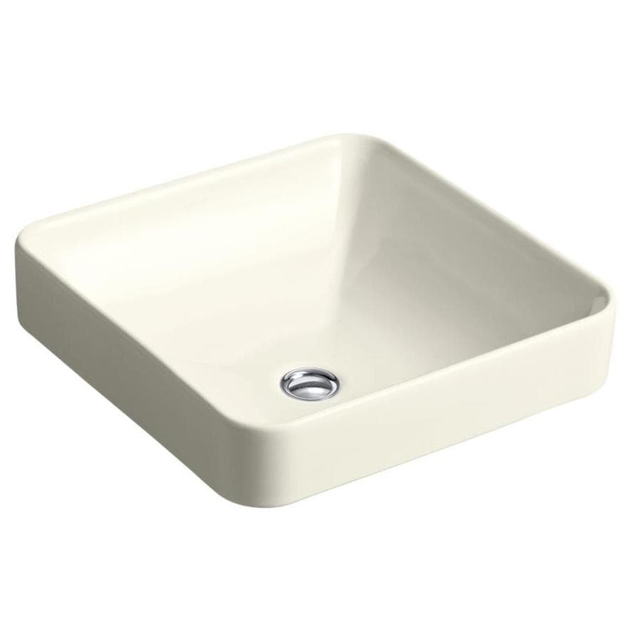 KOHLER Vox Biscuit Vessel Square Bathroom Sink with Overflow