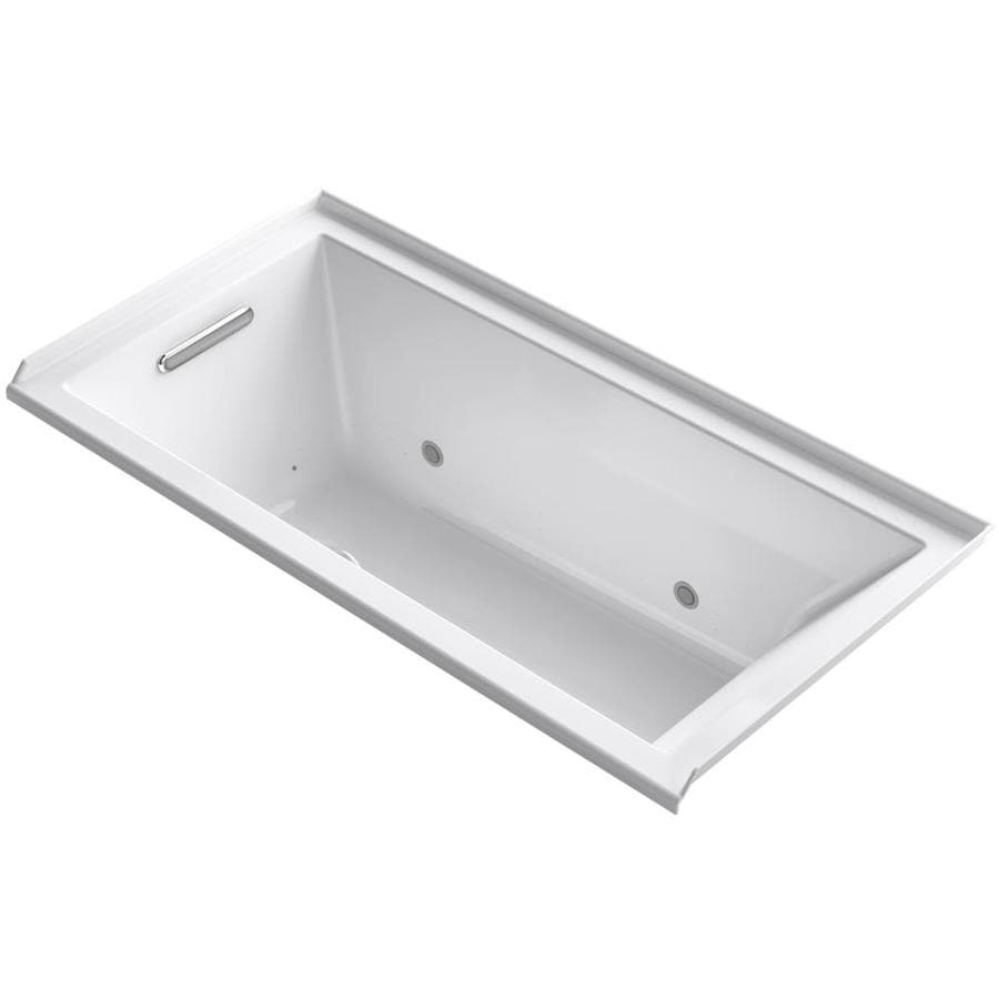 KOHLER Underscore 60-in White Acrylic Alcove Air Bath with Left-Hand Drain