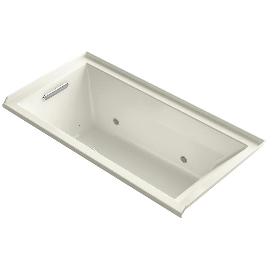 KOHLER Underscore 60-in L x 30-in W x 20.25-in H Biscuit Acrylic Rectangular Alcove Air Bath