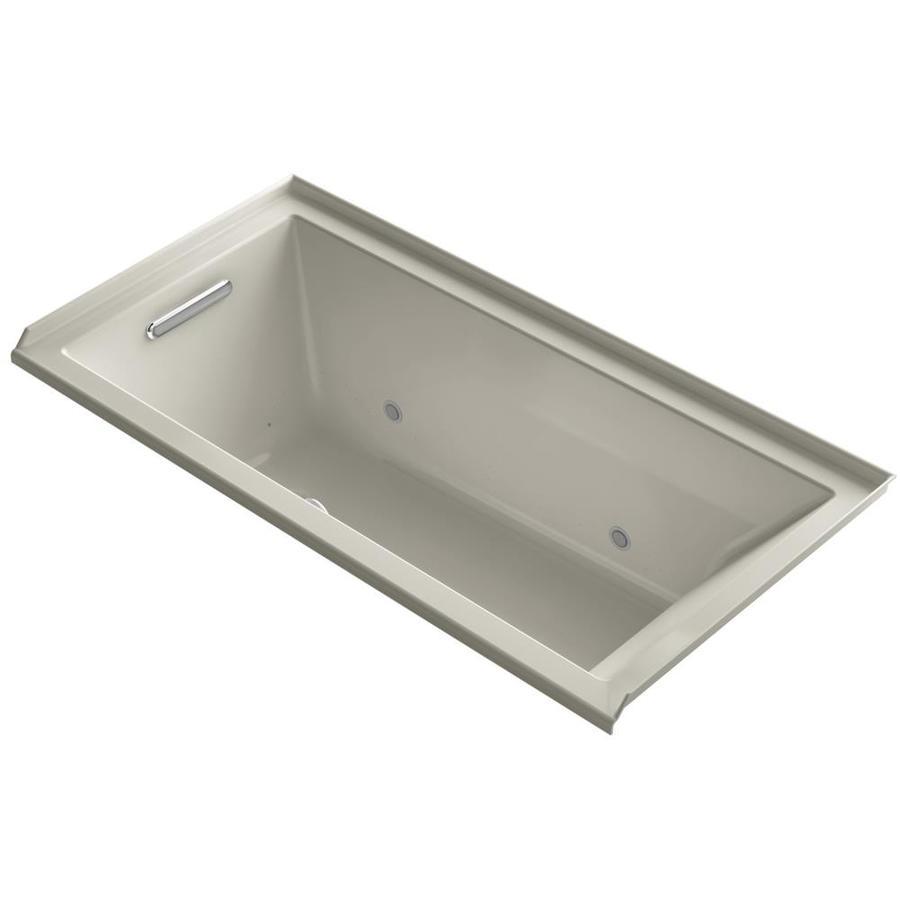 KOHLER Underscore 60-in Sandbar Acrylic Alcove Air Bath with Left-Hand Drain