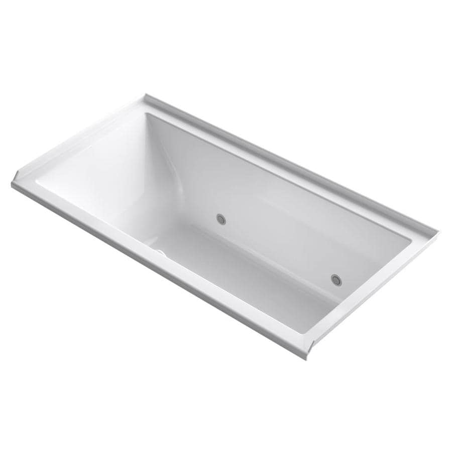 KOHLER Underscore 60-in White Acrylic Alcove Air Bath with Right-Hand Drain