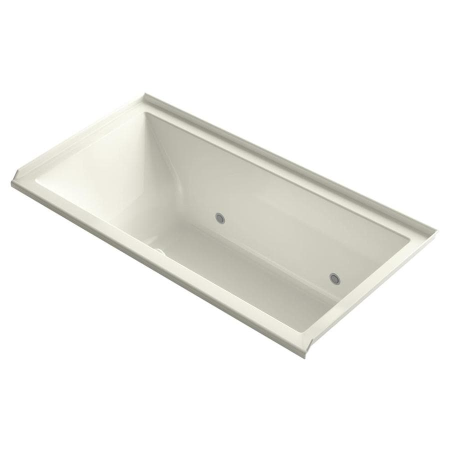 KOHLER Underscore 60-in L x 30-in W x 20.25-in H Biscuit Acrylic Rectangular Alcove Air Bath