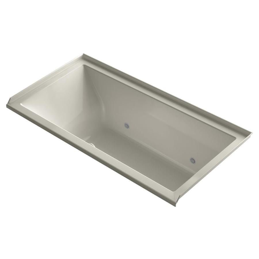 KOHLER Underscore 60-in Sandbar Acrylic Alcove Air Bath with Right-Hand Drain