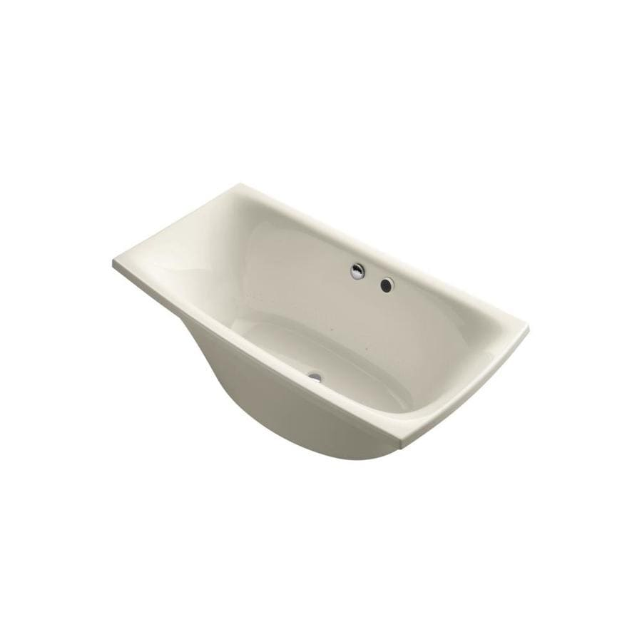 KOHLER Escale 72-in Almond Acrylic Freestanding Air Bath with Front Center Drain