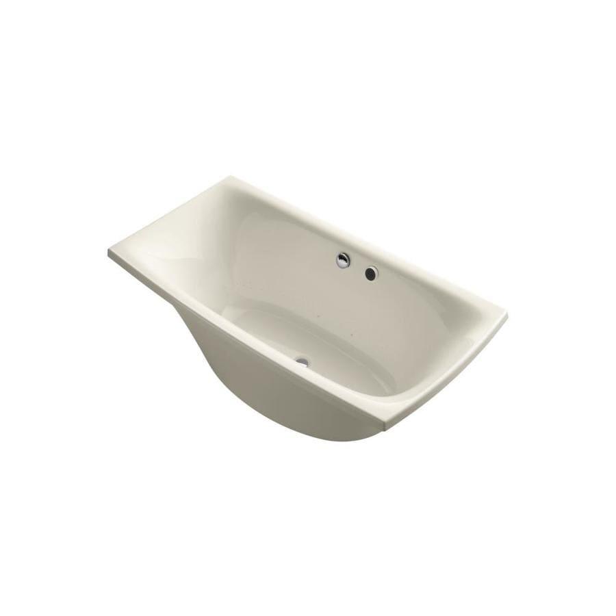 KOHLER Escale 72-in L x 36-in W x 24.125-in H Almond Acrylic Rectangular Freestanding Air Bath