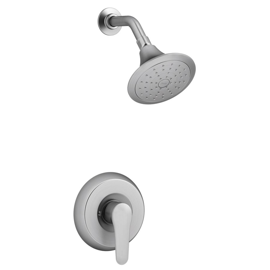 KOHLER July Brushed Chrome 1-Handle WaterSense Shower Faucet Trim Kit with Single Function Showerhead