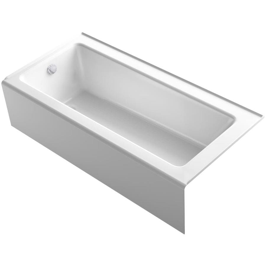 Shop kohler bellwether 66 in white cast iron alcove for Alcove bathtub dimensions