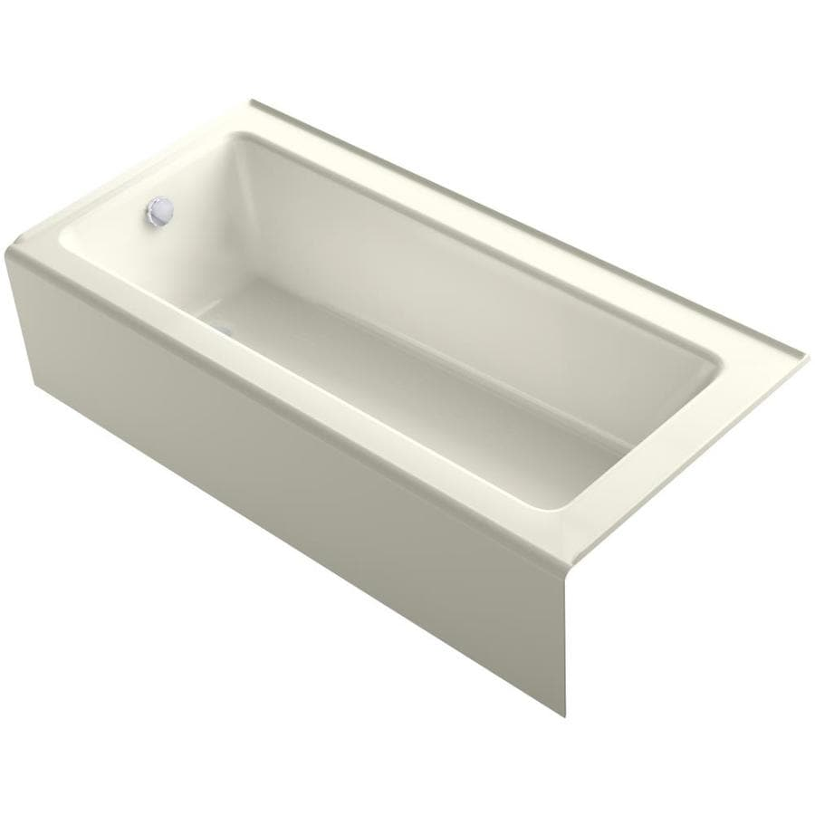 Shop kohler bellwether 66 in biscuit cast iron alcove for Alcove bathtub dimensions