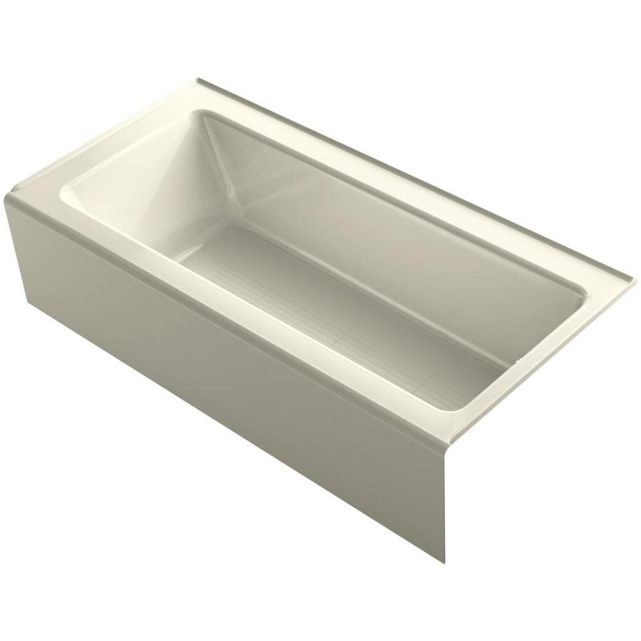 KOHLER Bellwether Almond Acrylic Rectangular Alcove Bathtub with Reversible Drain (Common: 32-in x 66-in; Actual: 17-in x 32-in x 66-in)