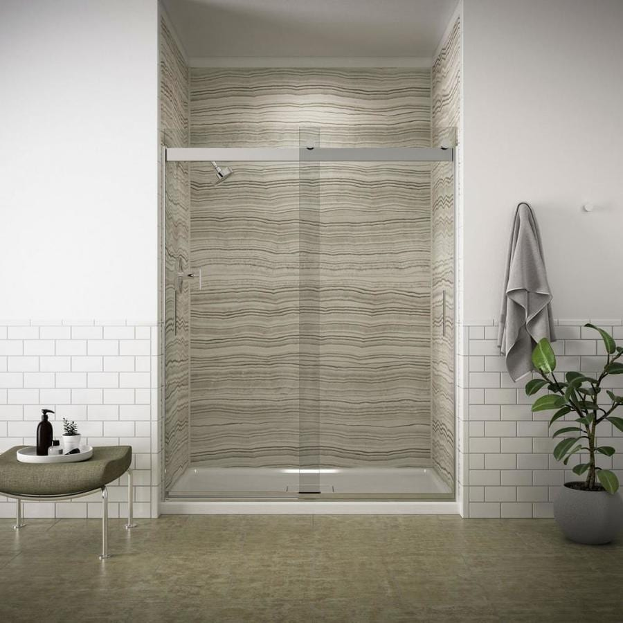 KOHLER Levity 56.6250-in to 59.6250-in Frameless Bright Silver Sliding Shower Door