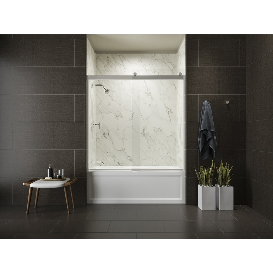 shop bathtub doors at lowes com kohler levity 59 625 in w x 62 in h frameless bathtub door
