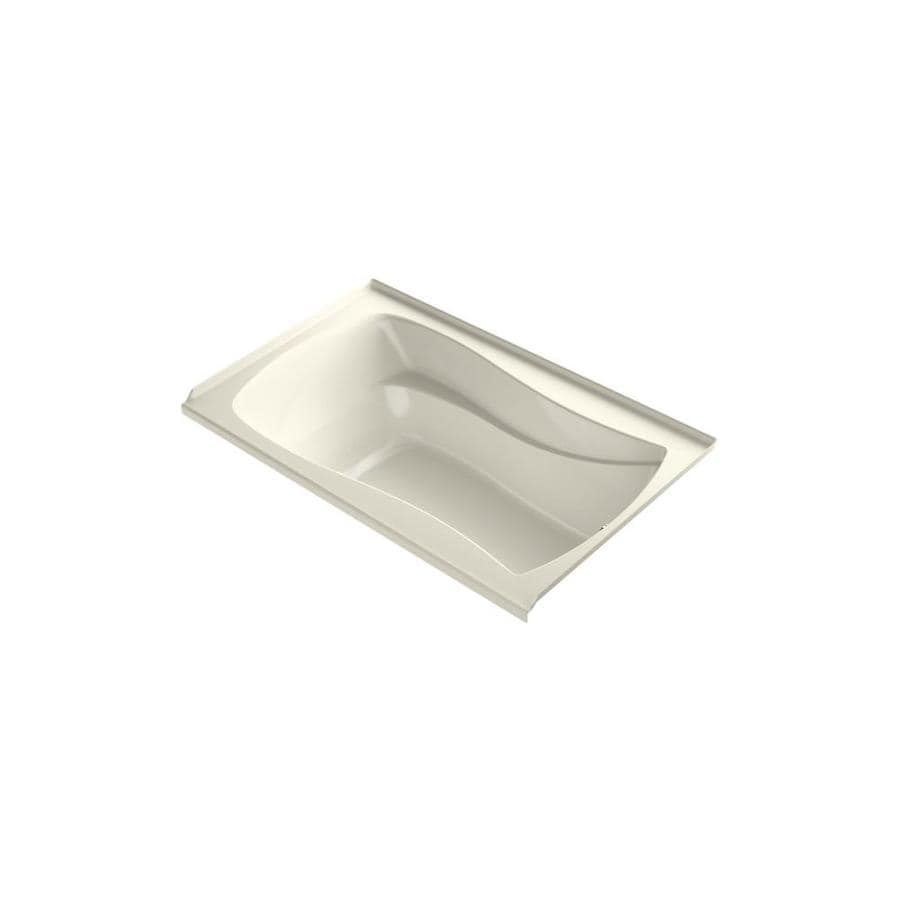 KOHLER Mariposa 60-in L x 35.875-in W x 20.25-in H Biscuit Acrylic Hourglass In Rectangle Freestanding Air Bath