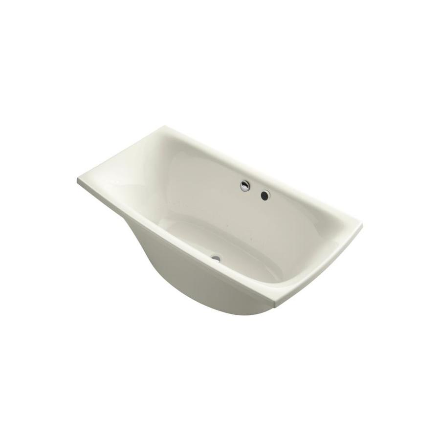 KOHLER Escale 72-in Biscuit Acrylic Freestanding Air Bath with Front Center Drain