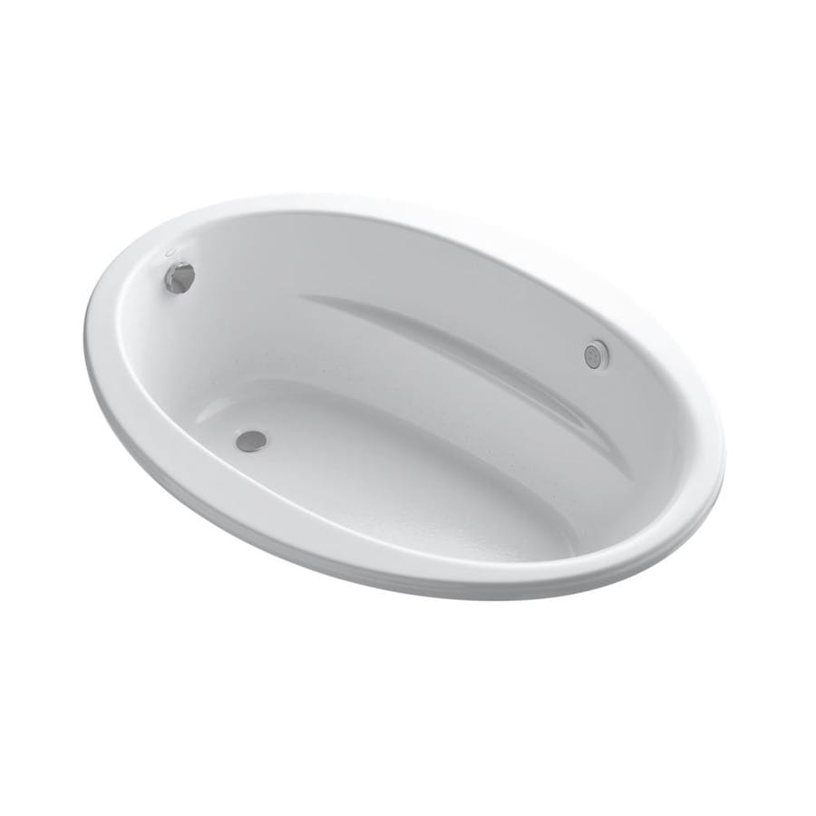 KOHLER Sunward 60-in White Acrylic Drop-In Air Bath with Front Center Drain