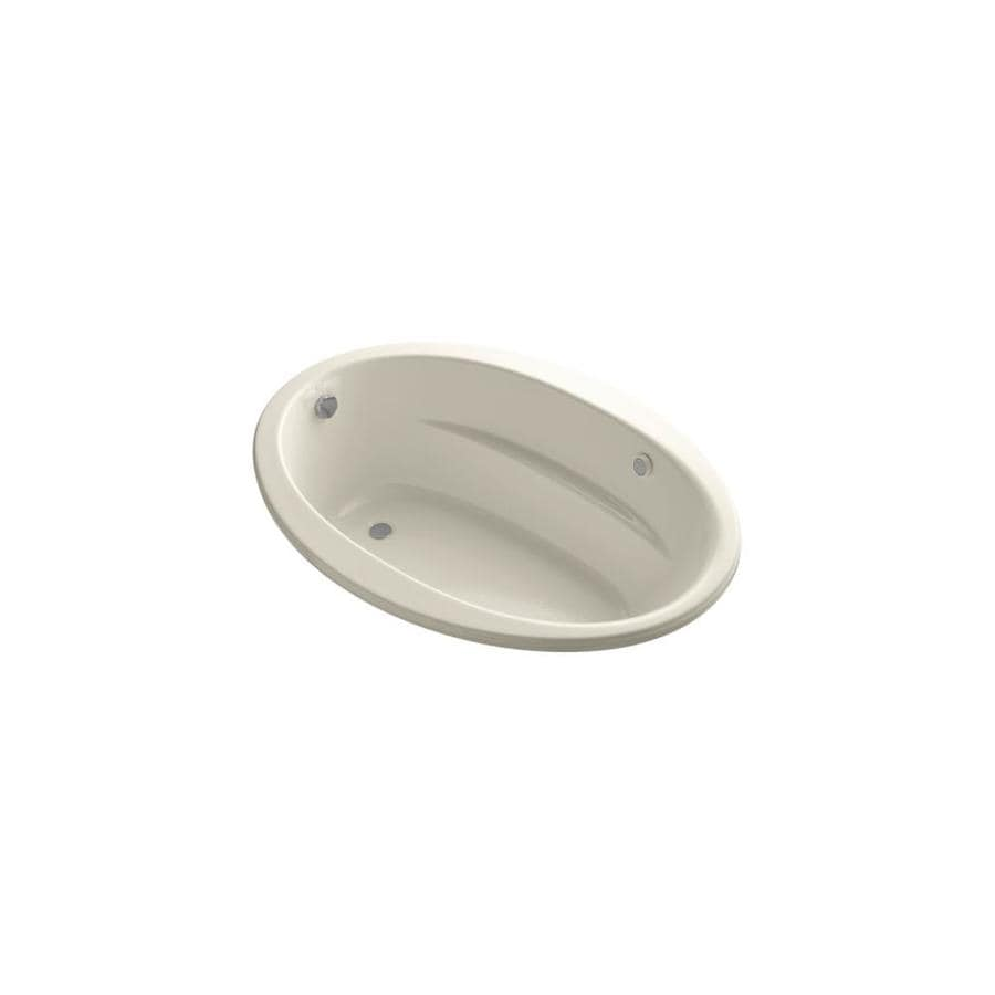 KOHLER Sunward 60-in Almond Acrylic Drop-In Air Bath with Reversible Drain