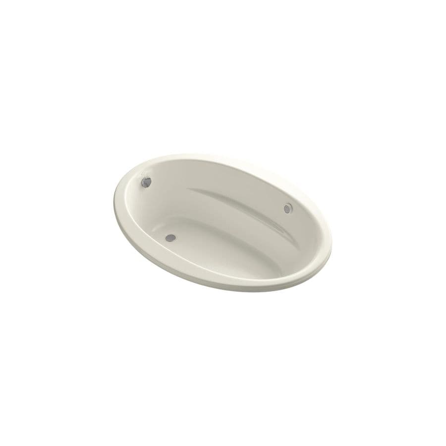 KOHLER Sunward 60-in L x 42-in W x 20-in H Biscuit Acrylic Oval Drop-In Air Bath