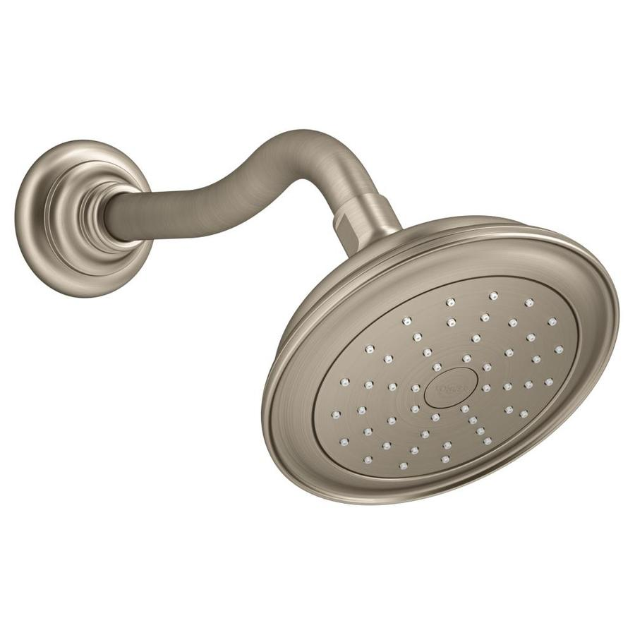 KOHLER Artifacts 6-in 2.0-GPM (7.6-LPM) Vibrant Brushed Nickel 1-Spray WaterSense Showerhead