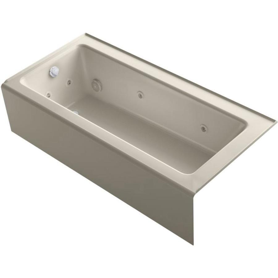 KOHLER Archer 66-in Sandbar Acrylic Alcove Whirlpool Tub with Left-Hand Drain