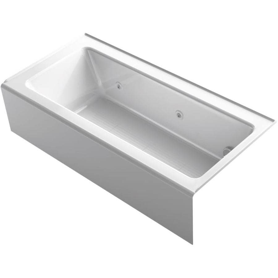 KOHLER Archer White Acrylic Rectangular Alcove Whirlpool Tub (Common: 32-in x 66-in; Actual: 16.5-in x 32-in x 66-in)