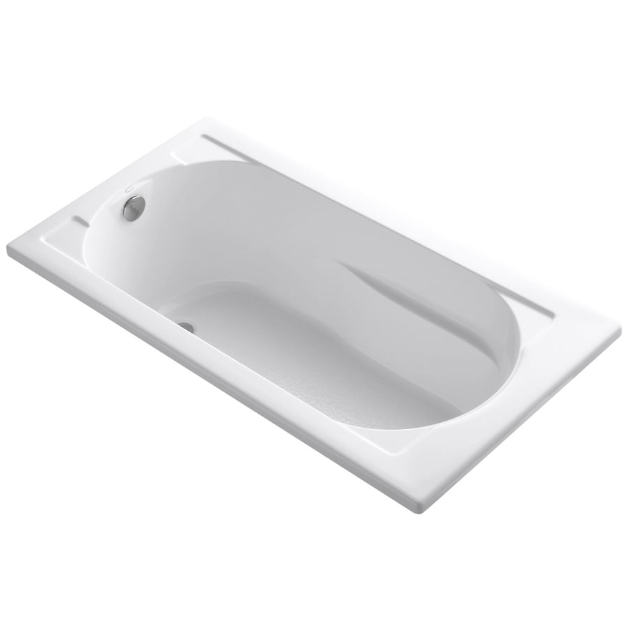 KOHLER Devonshire White Acrylic Oval In Rectangle Drop-in Bathtub with Reversible Drain (Common: 32-in x 60-in; Actual: 20-in x 32-in x 60-in)