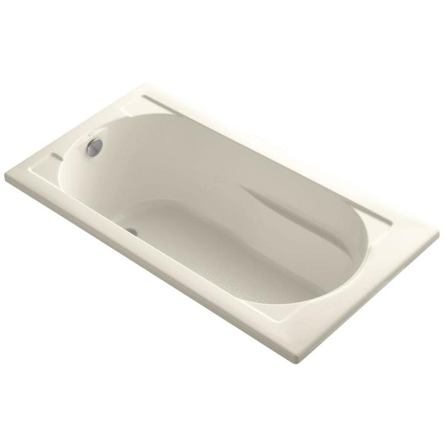 KOHLER Devonshire 60-in Almond Acrylic Drop-In Bathtub with Reversible Drain