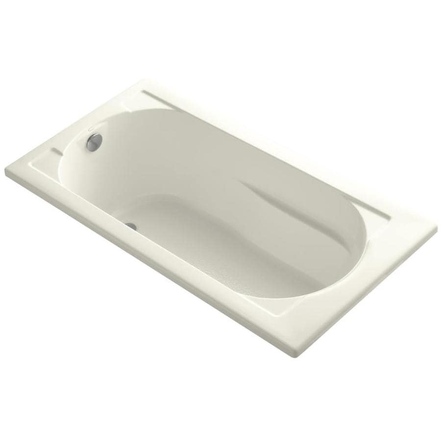 KOHLER Devonshire Biscuit Acrylic Oval In Rectangle Drop-in Bathtub with Reversible Drain (Common: 32-in x 60-in; Actual: 20-in x 32-in x 60-in)