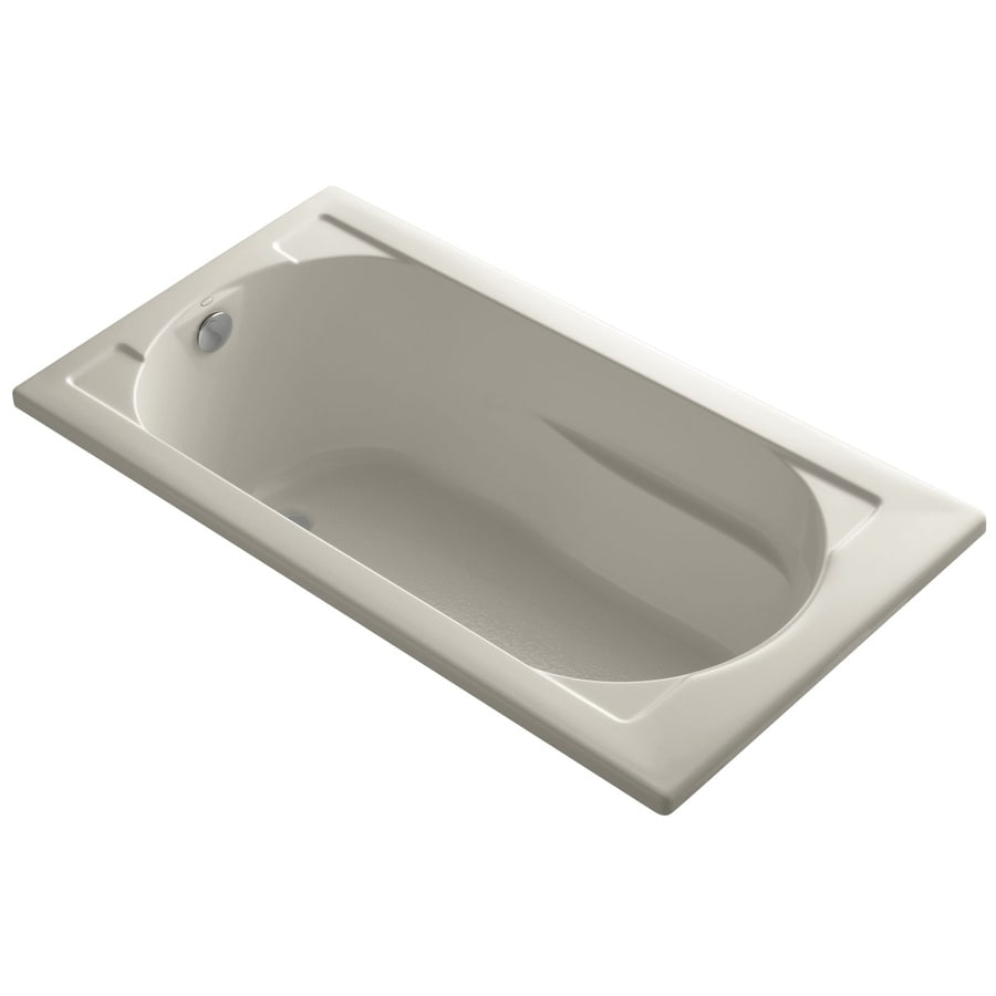 KOHLER Devonshire 60-in Sandbar Acrylic Drop-In Bathtub with Reversible Drain