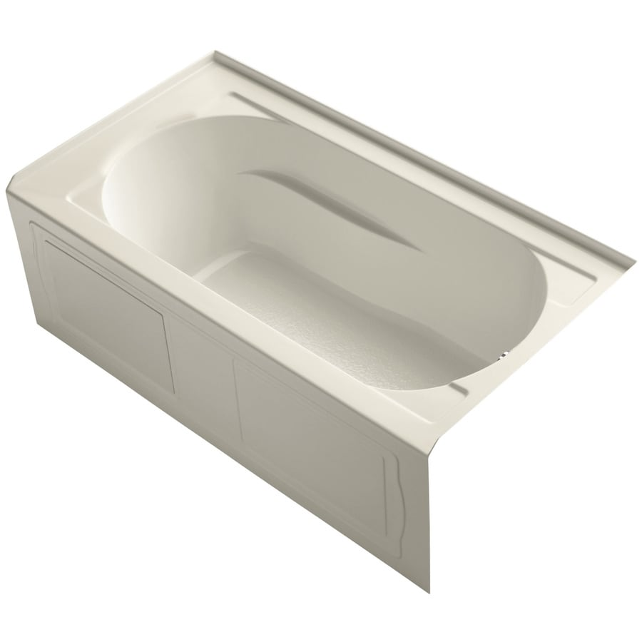 KOHLER Devonshire Almond Acrylic Oval In Rectangle Skirted Bathtub with Right-Hand Drain (Common: 32-in x 60-in; Actual: 20-in x 32-in x 60-in)