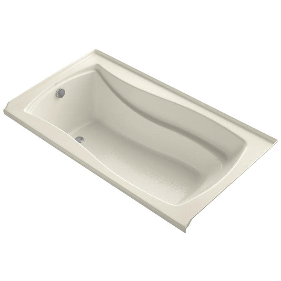 KOHLER Mariposa Almond Acrylic Rectangular Alcove Bathtub with Left-Hand Drain (Common: 36-in x 66-in; Actual: 21.25-in x 35.875-in x 66-in)