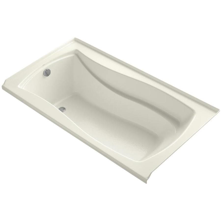 KOHLER Mariposa Biscuit Acrylic Rectangular Alcove Bathtub with Left-Hand Drain (Common: 36-in x 66-in; Actual: 21.25-in x 35.875-in x 66-in)