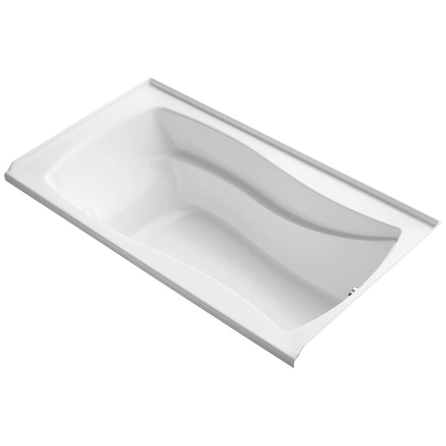 KOHLER Mariposa 66-in White Acrylic Rectangular Alcove Bathtub with Right-Hand Drain