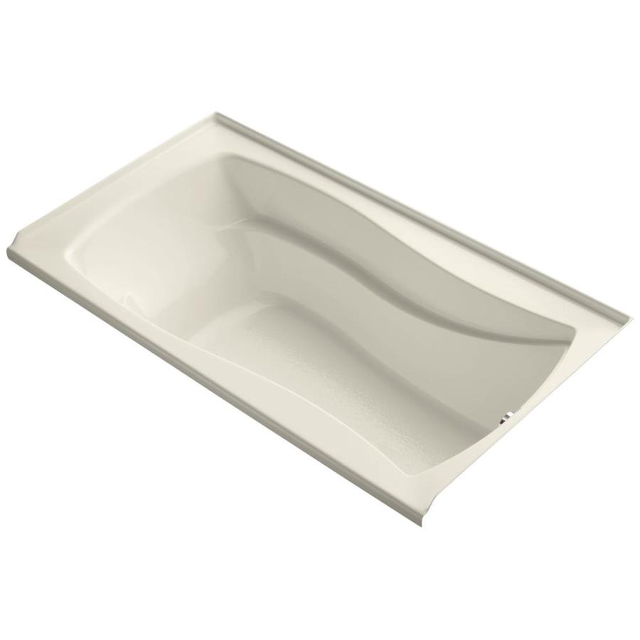 KOHLER Mariposa 66-in Almond Acrylic Alcove Bathtub with Right-Hand Drain